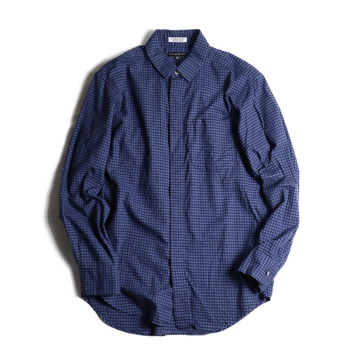 ENGINEERED GARMENTS / Short Collar Shirt -Gingham Check -BLUE/NAVY