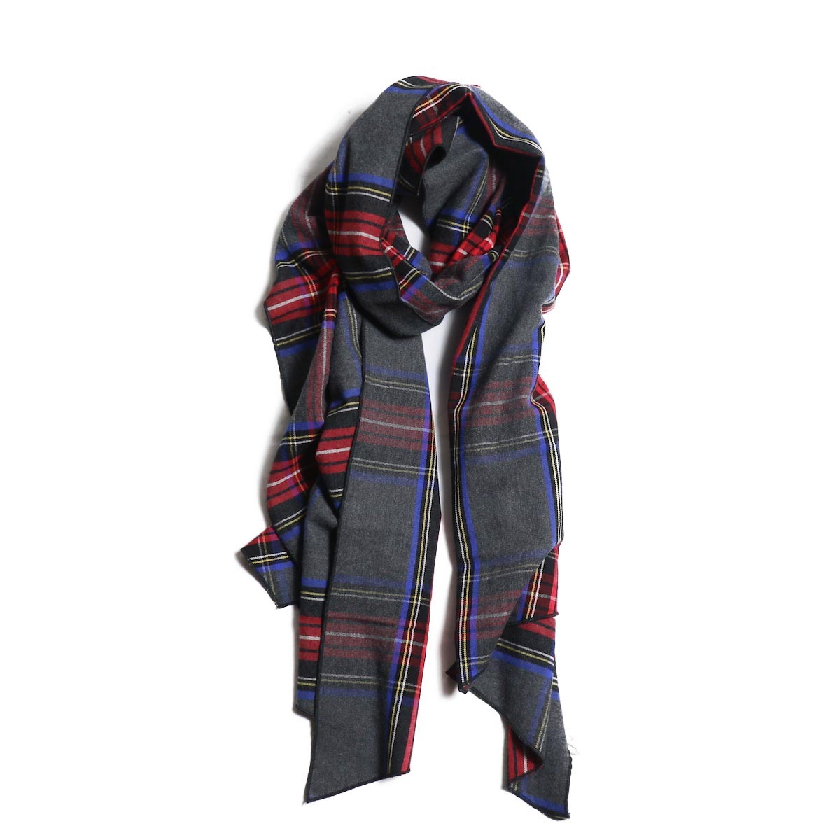 Engineered Garments / Long Scarf -Brushed Plaid (Grey/Red)