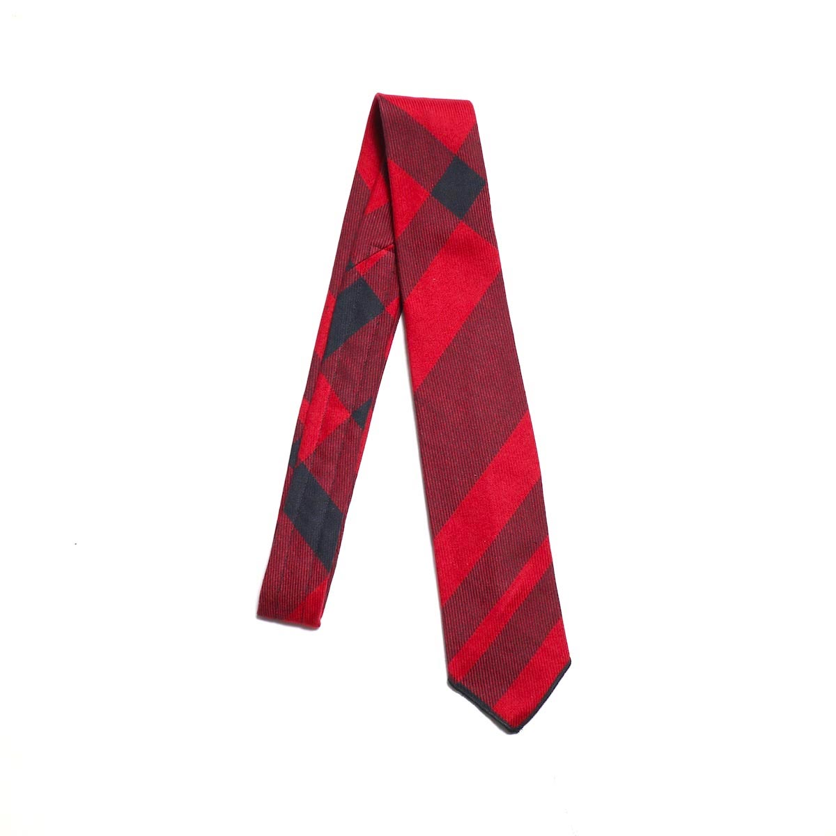 ENGINEERED GARMENTS / Neck Tie Big Plaid  -RED/BLACK