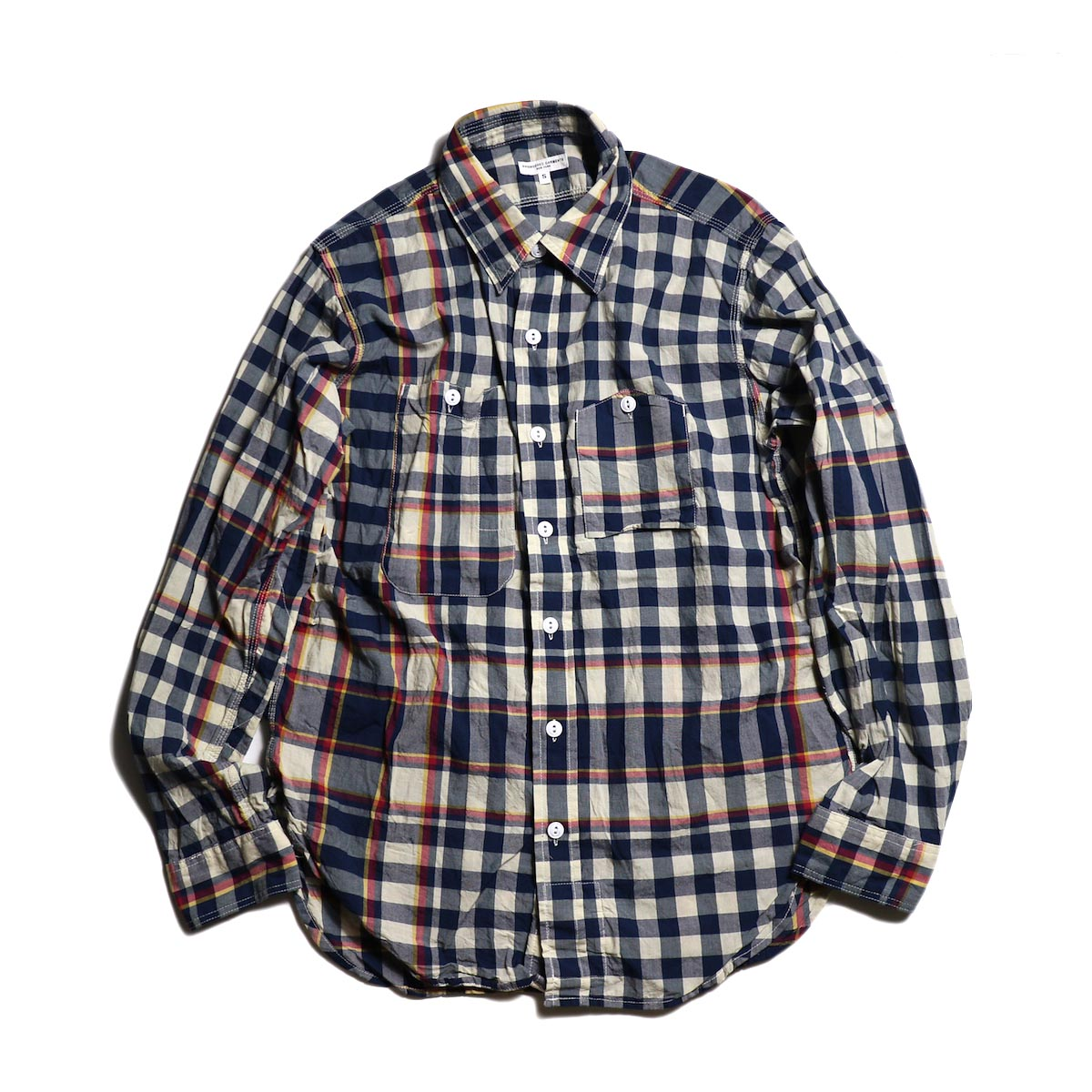 Engineered Garments / Work Shirt -Big Plaid Madras (Navy×Red)