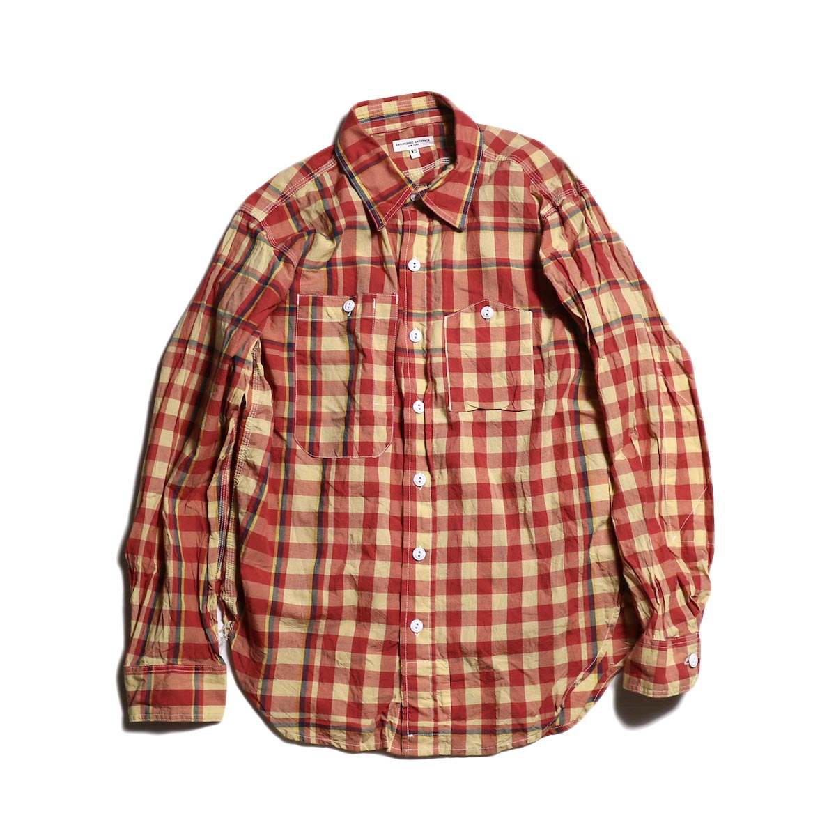 Engineered Garments / Work Shirt -Big Plaid Madras (Orange/Yellow)