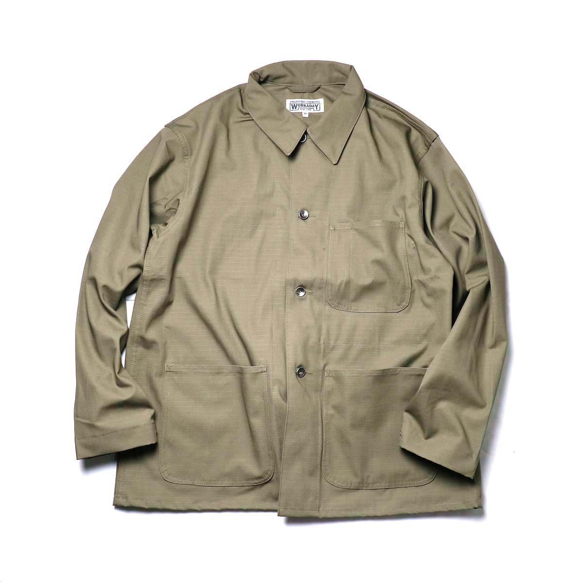 Engineered Garments Workaday / Utility Jacket - Cotton Ripstop (Khaki)正面