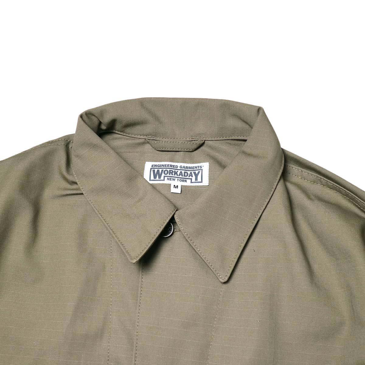 Engineered Garments Workaday / Utility Jacket - Cotton Ripstop (Khaki)襟