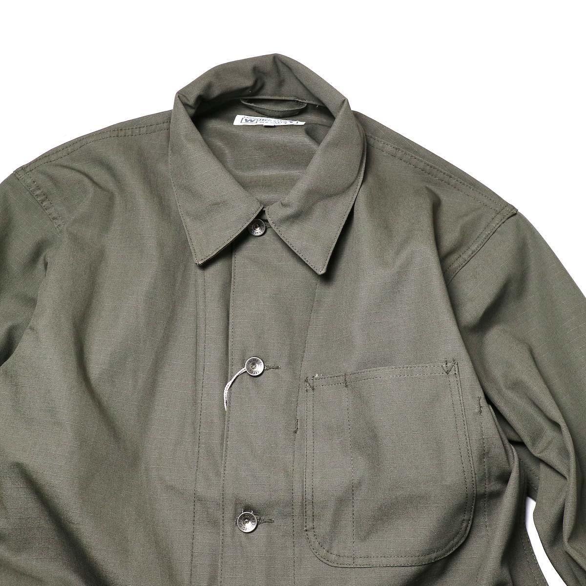 Engineered Garments Workaday / Utility Jacket - Cotton Ripstop (Olive)襟