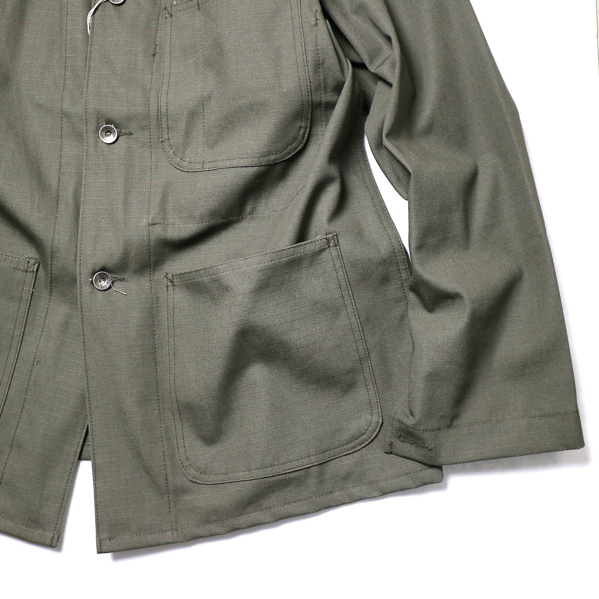 Engineered Garments Workaday / Utility Jacket - Cotton Ripstop (Olive)袖、裾