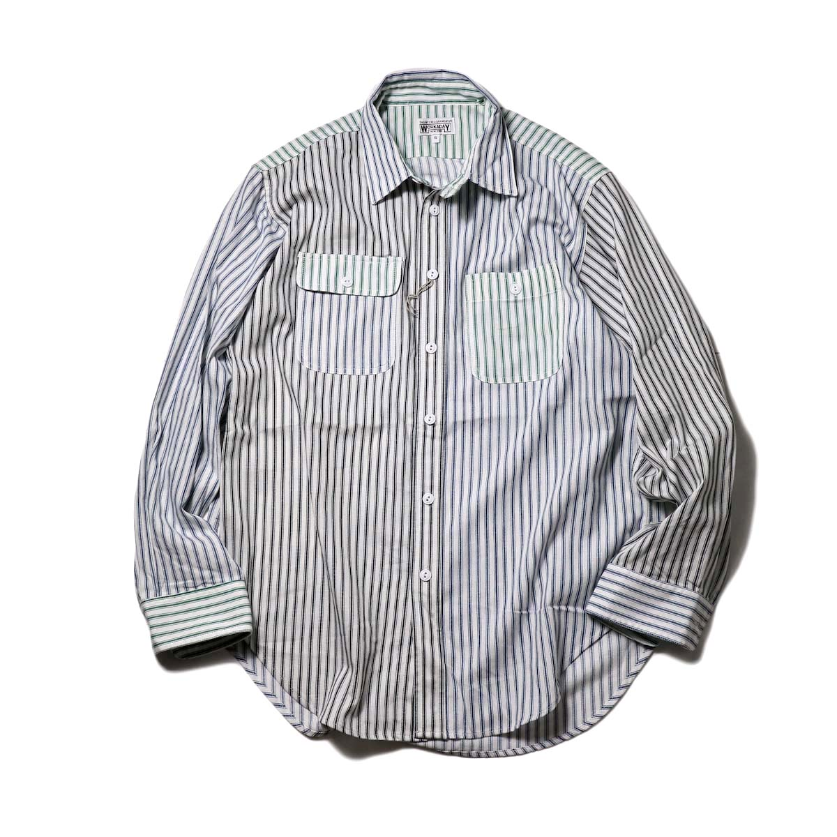 Engineered Garments Workaday / Utility Shirt Combo-Ticking St.(Blue/White)