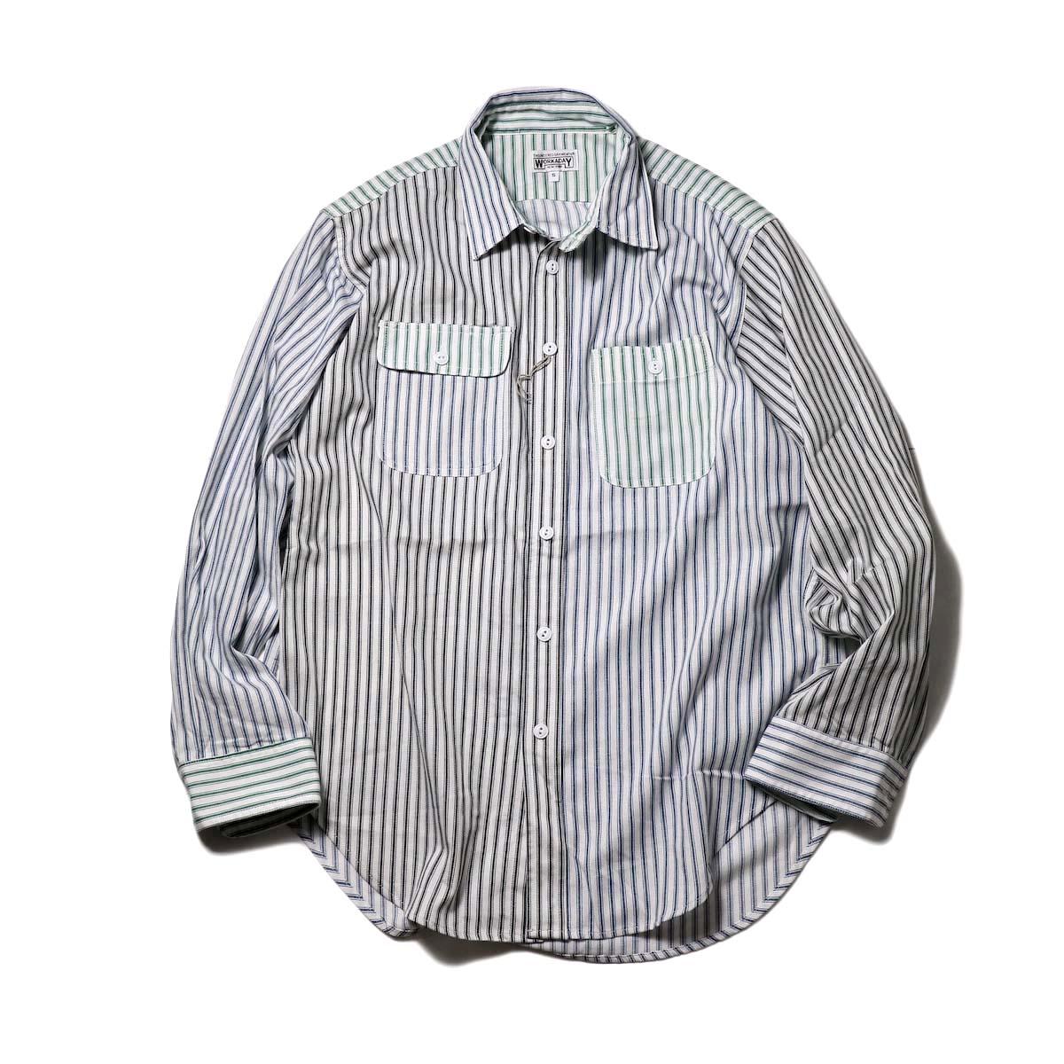 Engineered Garments Workaday / Utility Shirt Combo-Ticking St.(Blue/White)