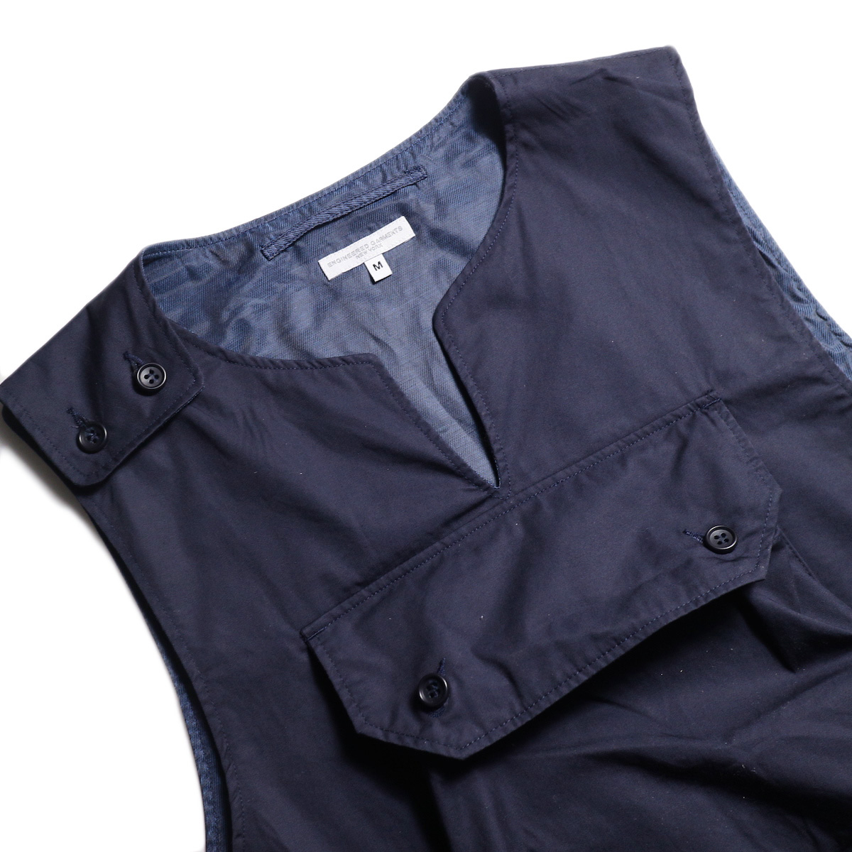 Engineered Garments / Cover Vest -High Count Twill (Dk.Navy) 首周り