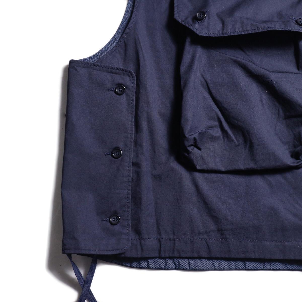 Engineered Garments / Cover Vest -High Count Twill (Dk.Navy) サイドボタン
