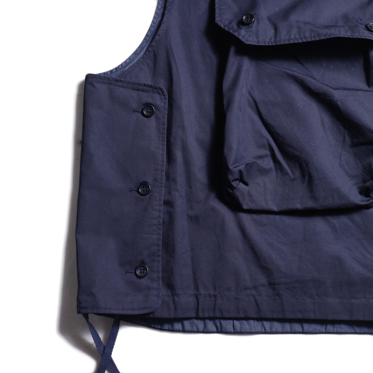Engineered Garments / Cover Vest -High Count Twill (Dk.Navy) サイドボタン