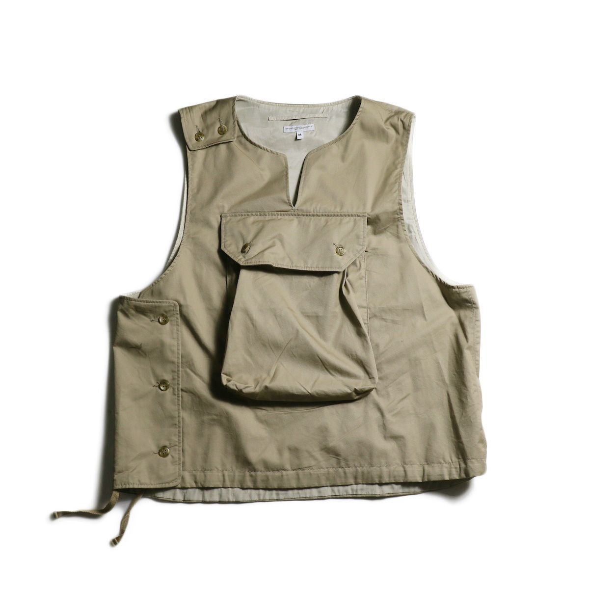 Engineered Garments / Cover Vest -High Count Twill (Khaki) 正面