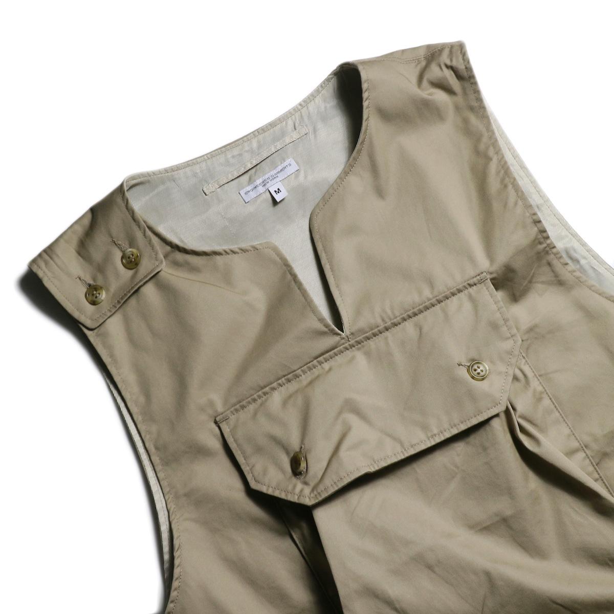Engineered Garments / Cover Vest -High Count Twill (Khaki) 首周り