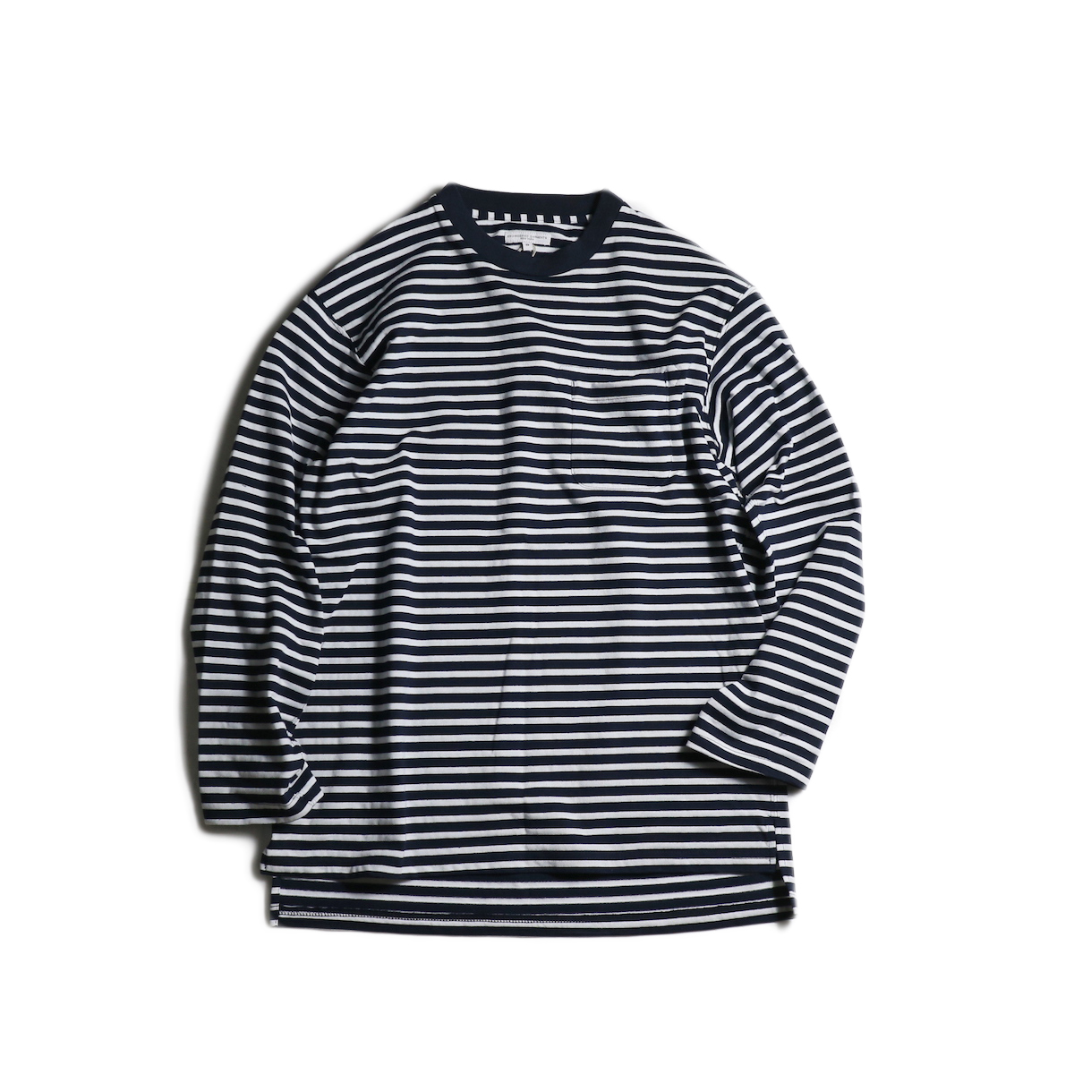 Engineered Garments / LS Crewneck Shirt -PC St. Jersey (Navy/White)
