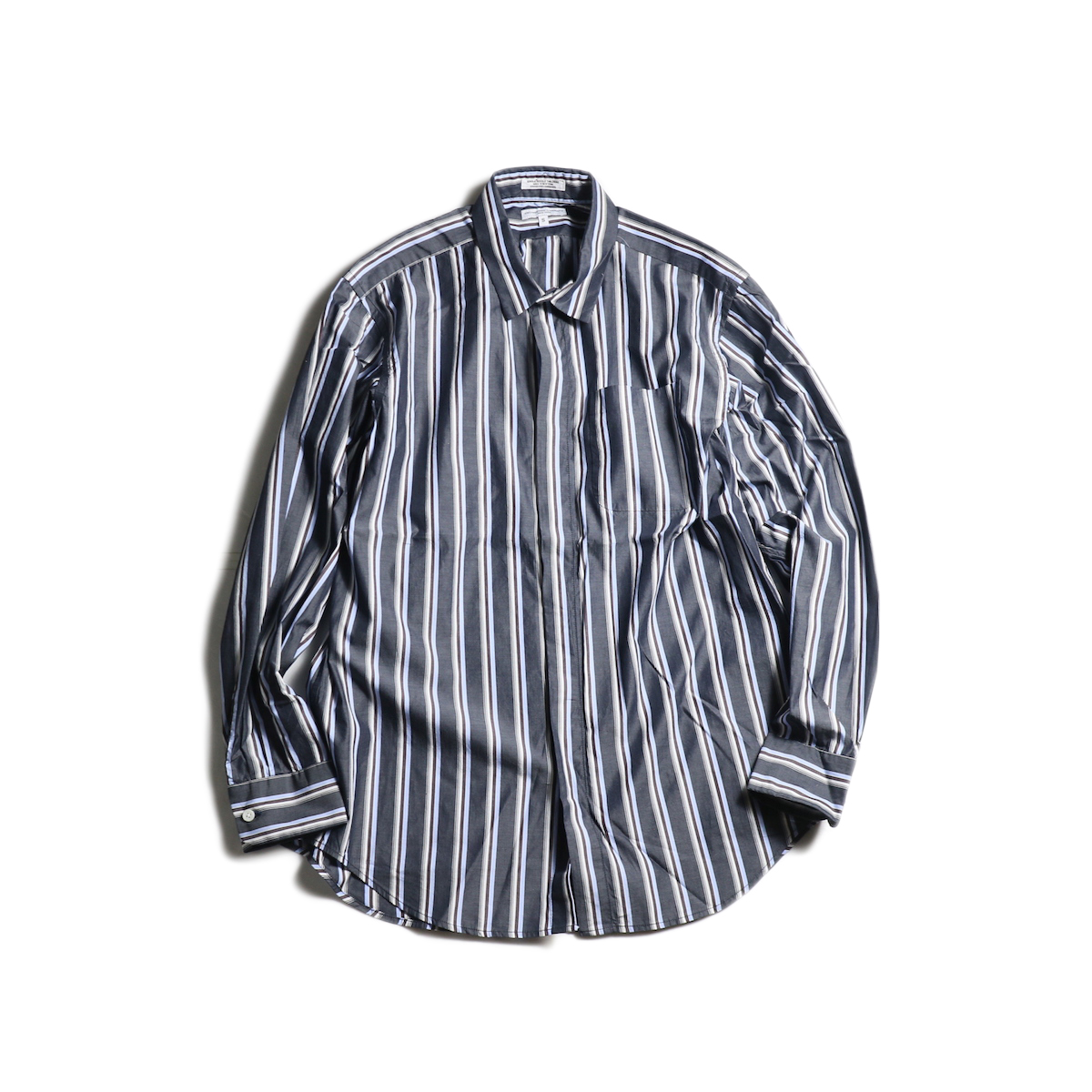 Engineered Garments / Short Collar Shirt -Multi St. Broadcloth (Navy)