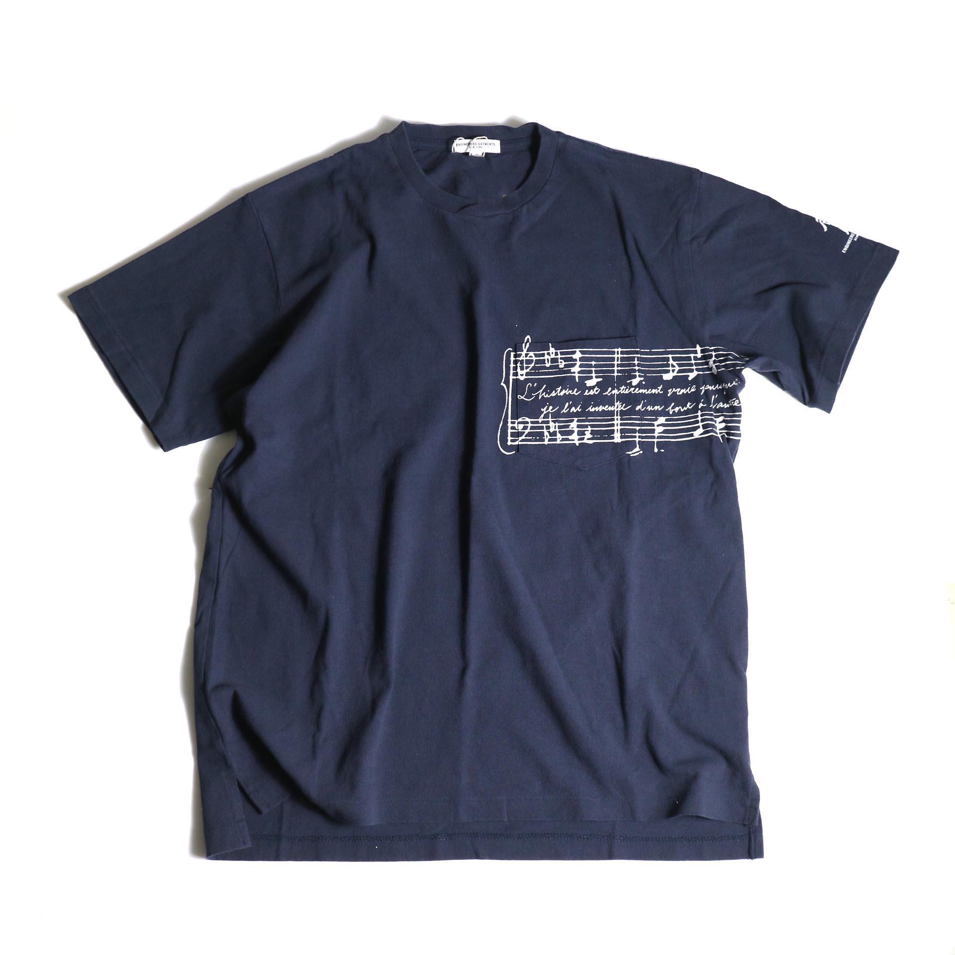 Engineered Garments / Printed Cross Crew Neck T-shirt -Music (Navy)