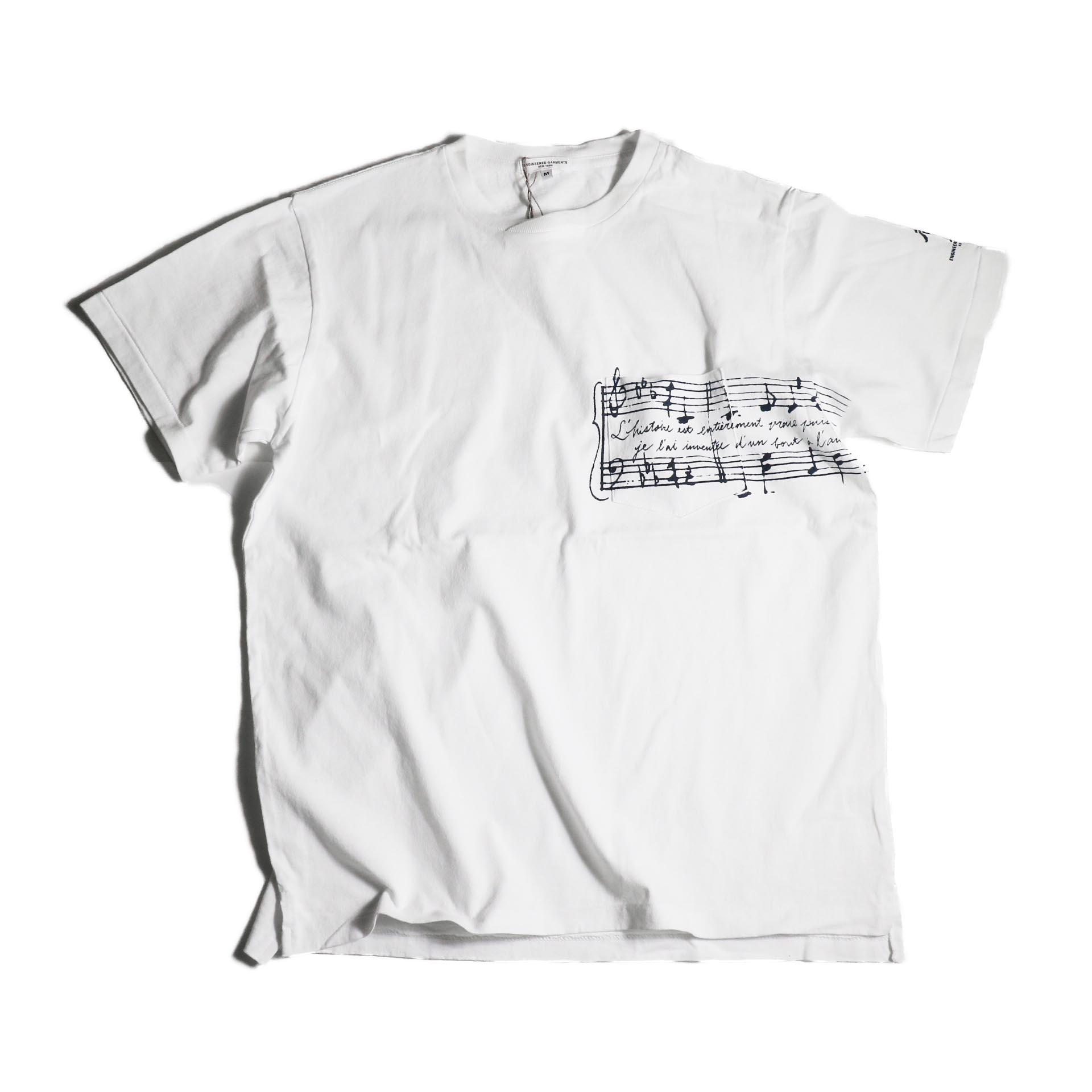 Engineered Garments / Printed Cross Crew Neck T-shirt -Music (White)