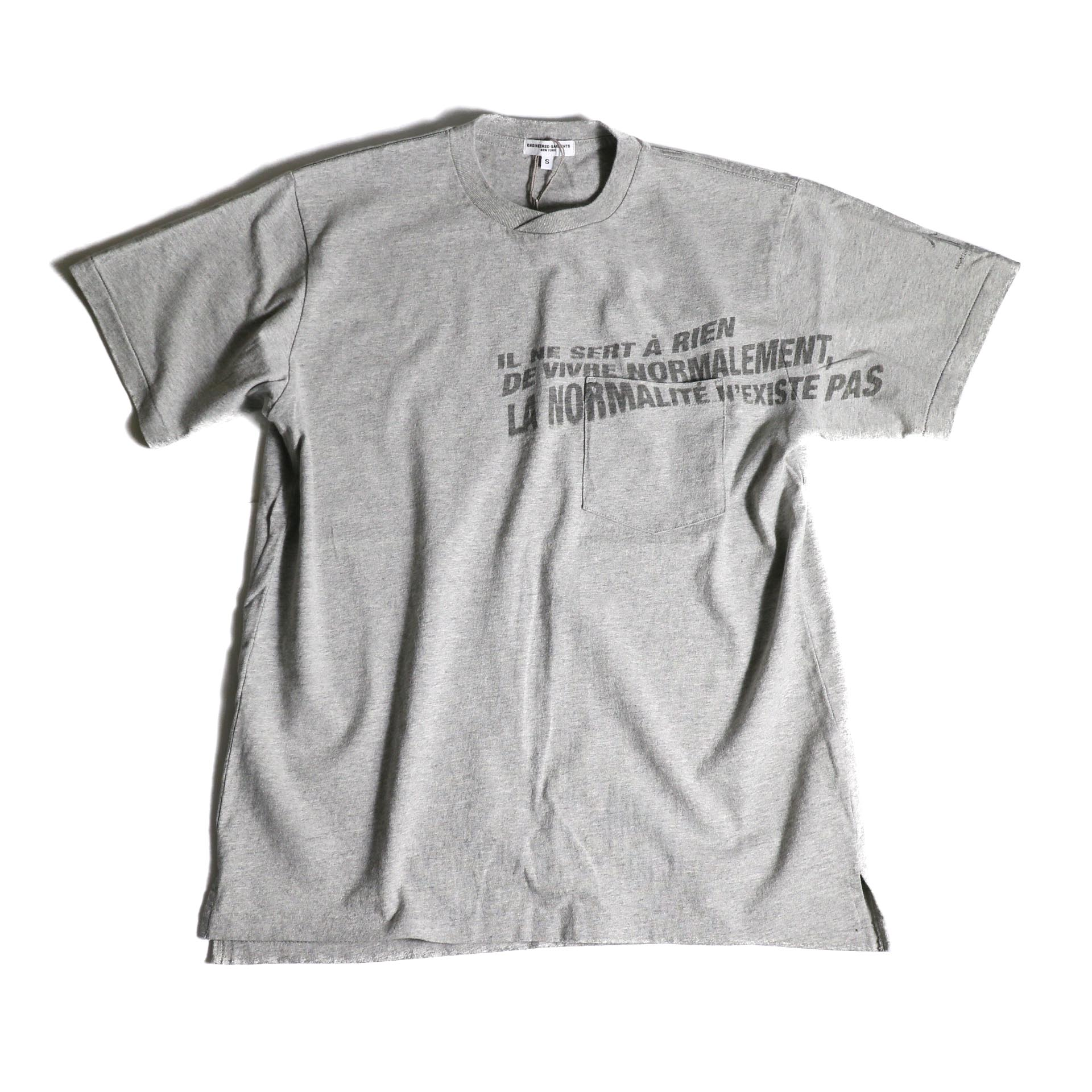 Engineered Garments / Printed Cross Crew Neck T-shirt -Normal (Gray)