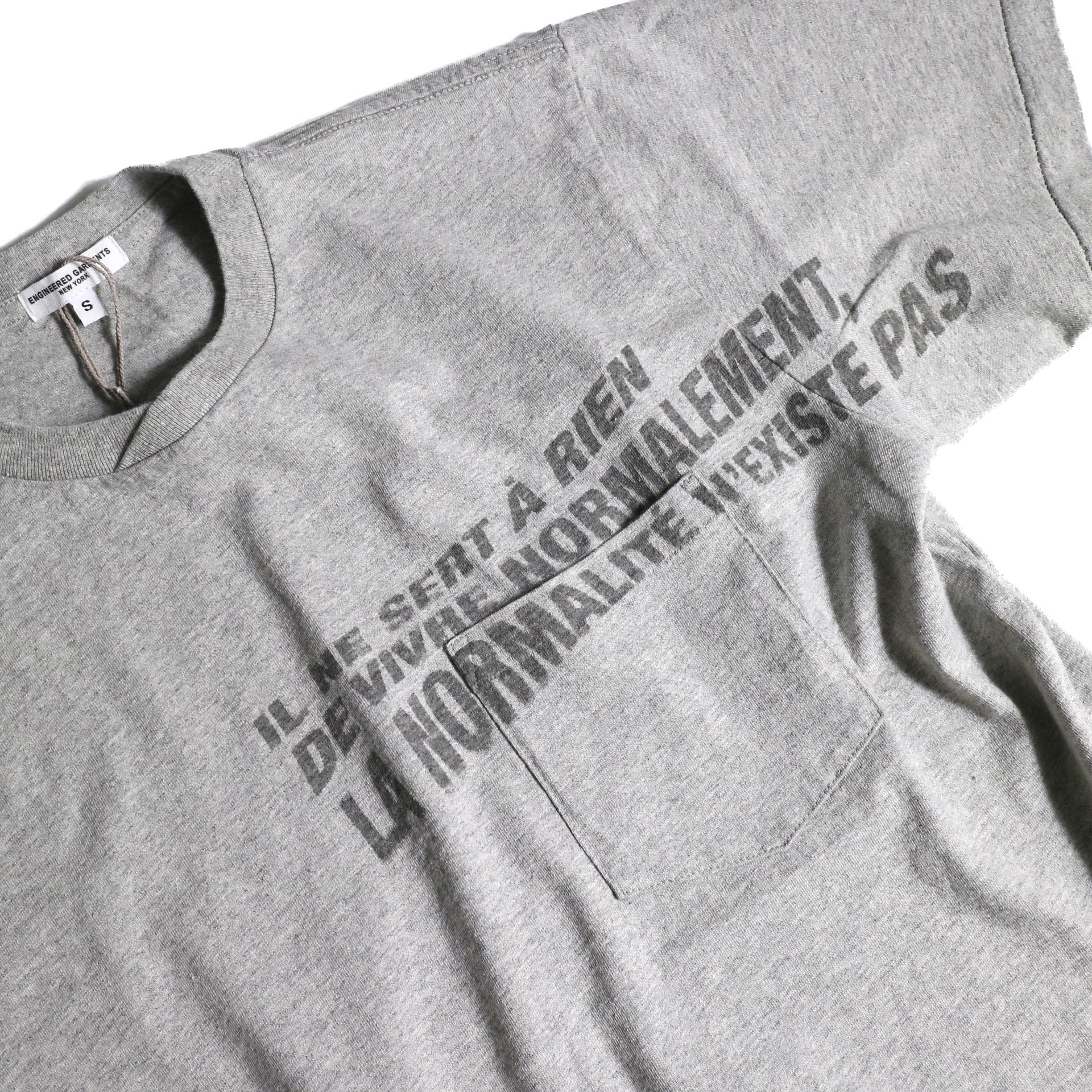 Engineered Garments / Printed Cross Crew Neck T-shirt -Normal (Gray)プリント