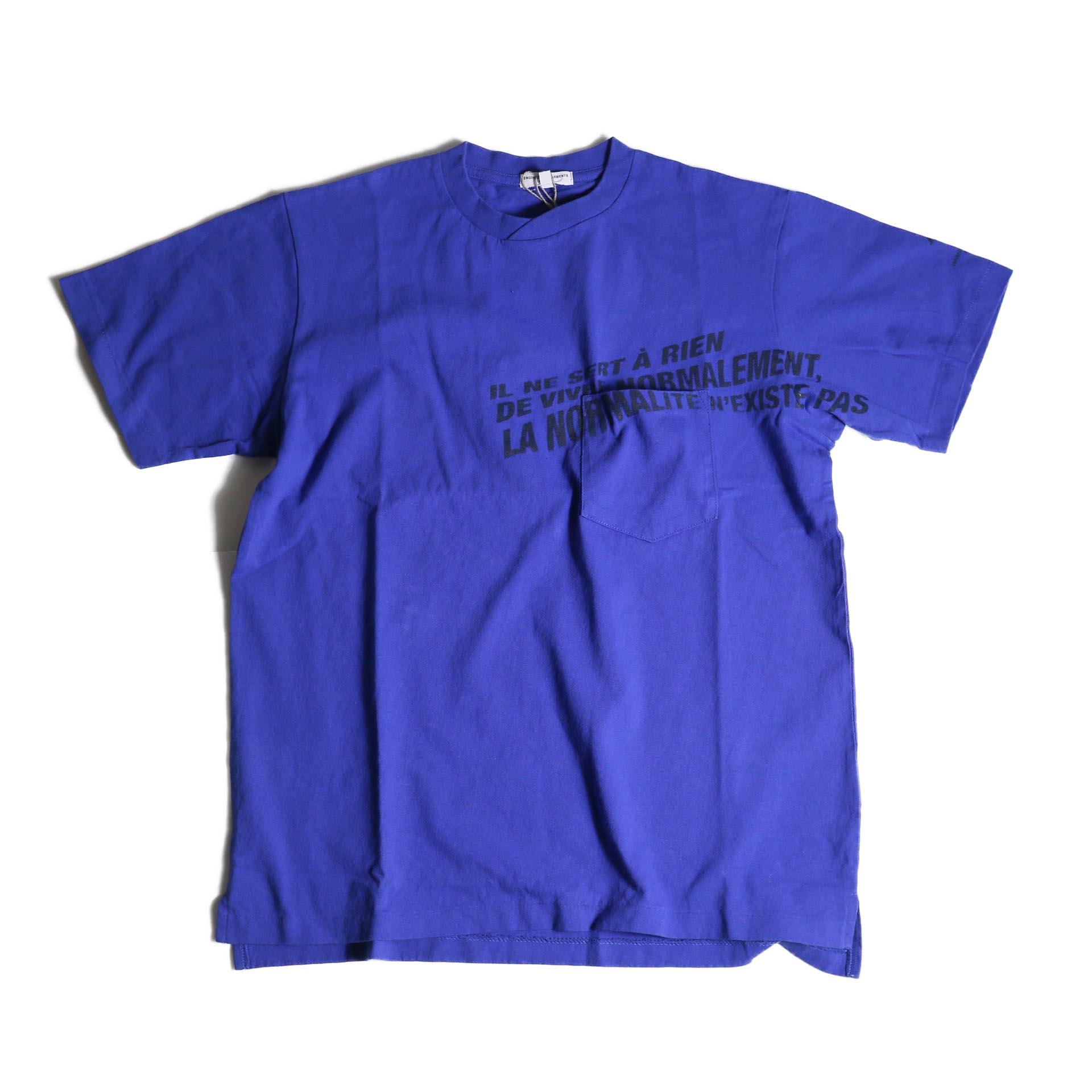 Engineered Garments / Printed Cross Crew Neck T-shirt -Normal (Royal)正面
