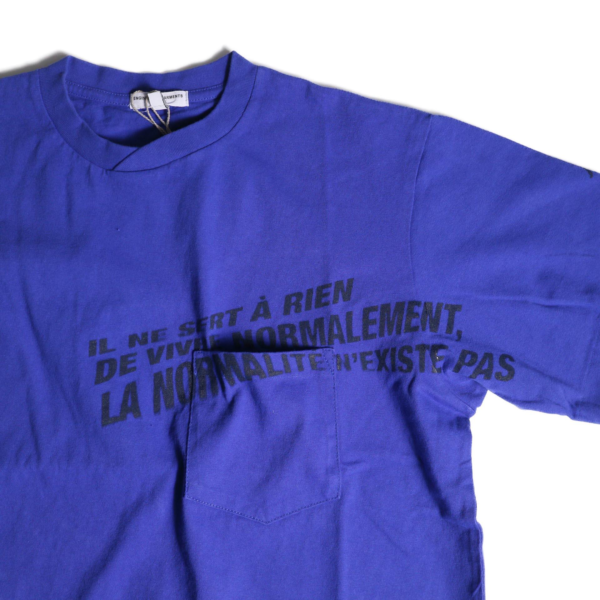 Engineered Garments / Printed Cross Crew Neck T-shirt -Normal (Royal)プリント