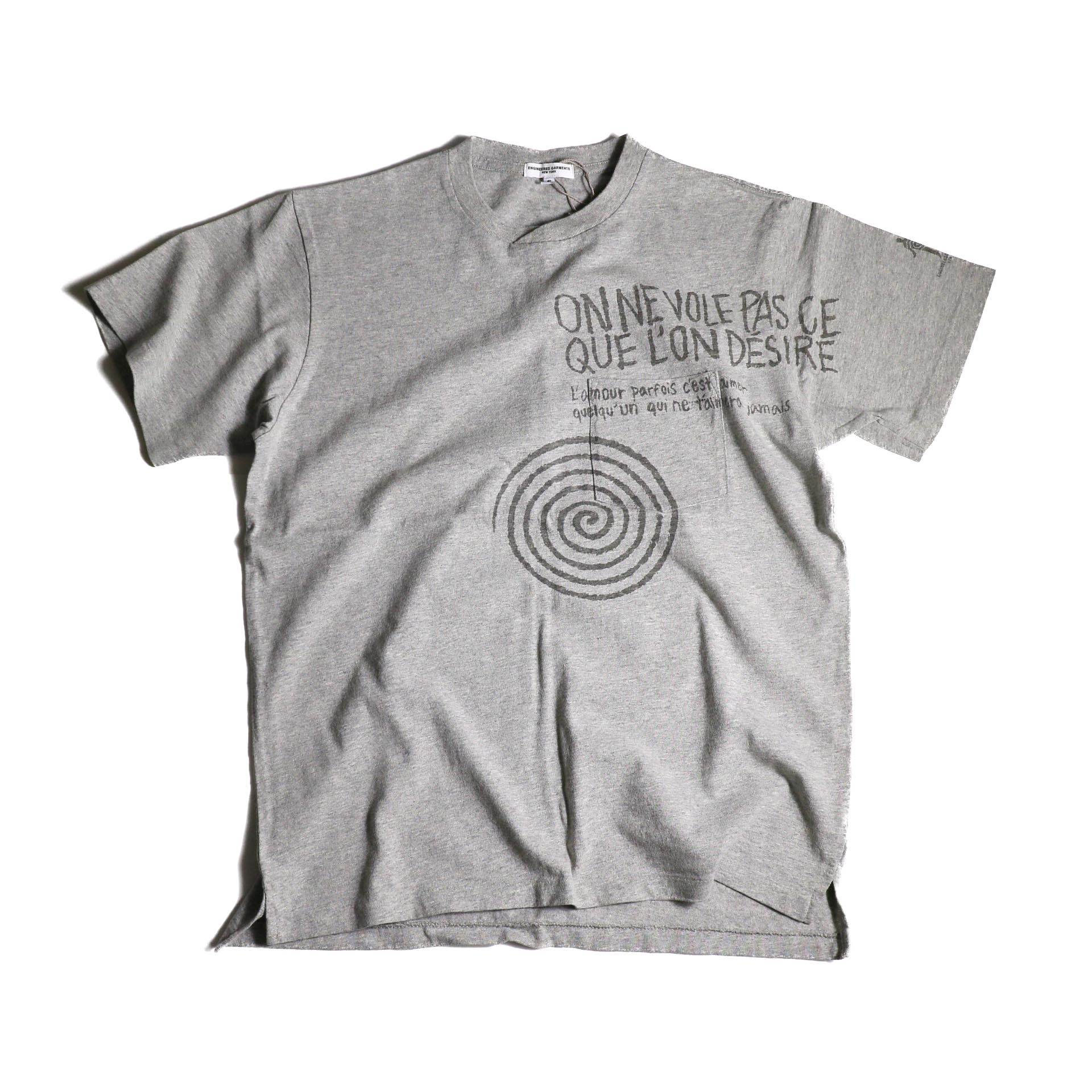 Engineered Garments / Printed Cross Crew Neck T-shirt -Spiral (Grey)正面