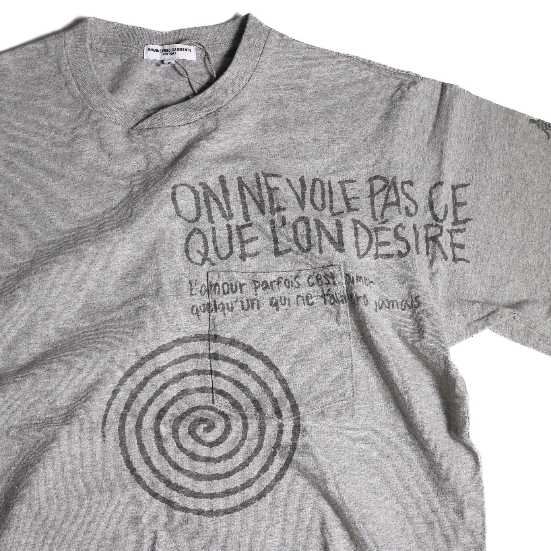 Engineered Garments / Printed Cross Crew Neck T-shirt -Spiral (Grey)プリント