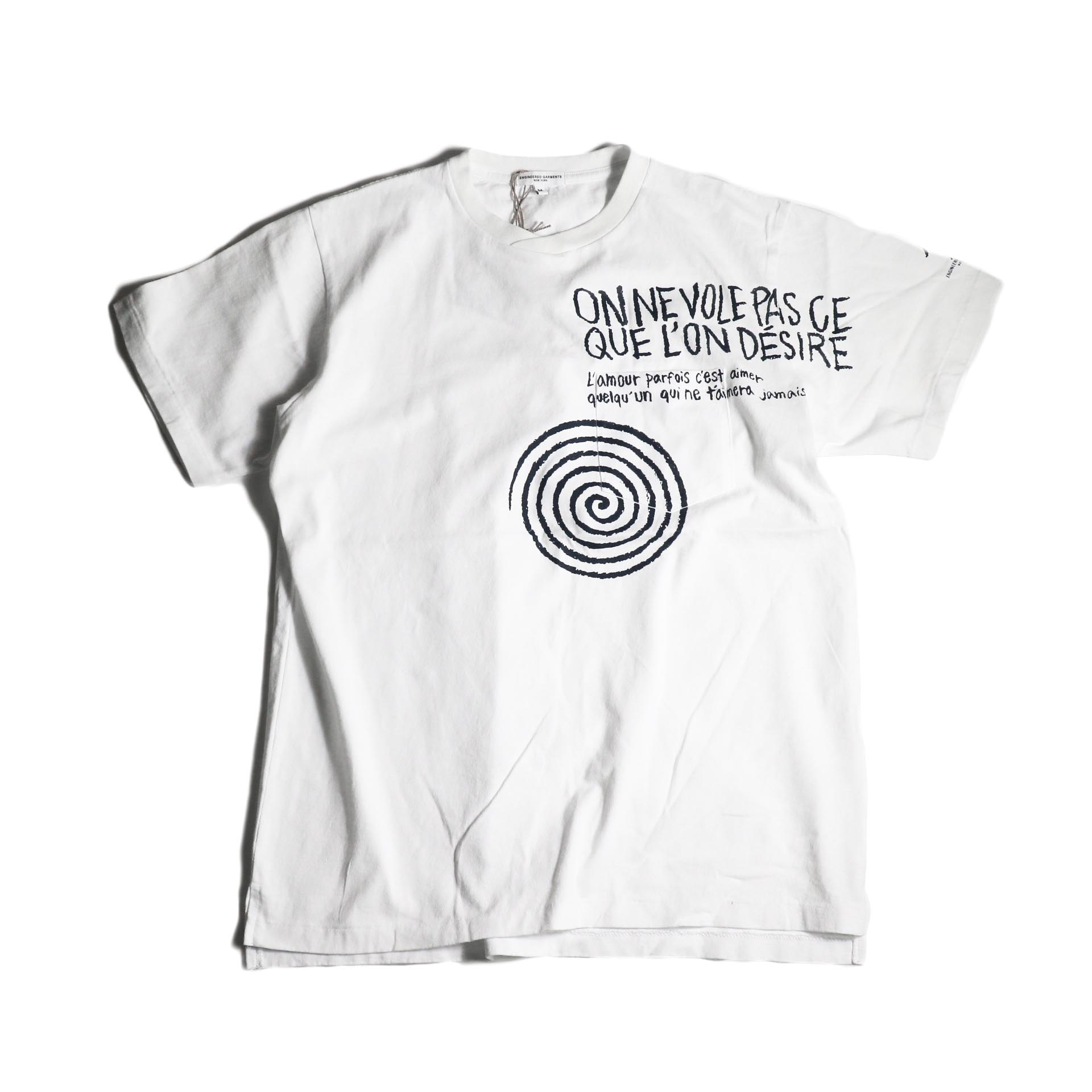 Engineered Garments / Printed Cross Crew Neck T-shirt -Spiral (White)正面