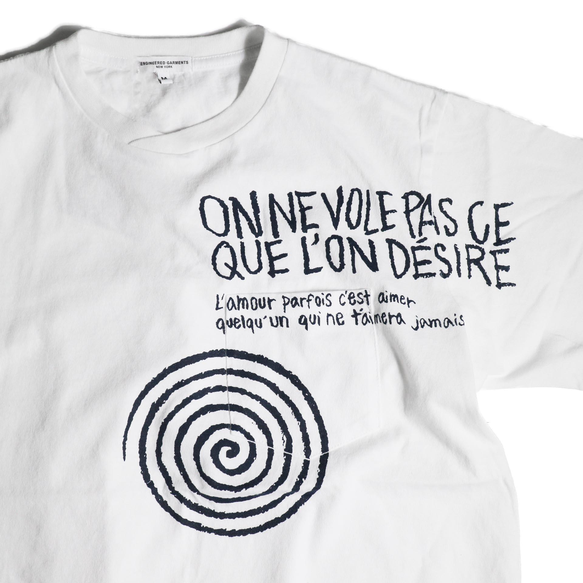 Engineered Garments / Printed Cross Crew Neck T-shirt -Spiral (White)プリント