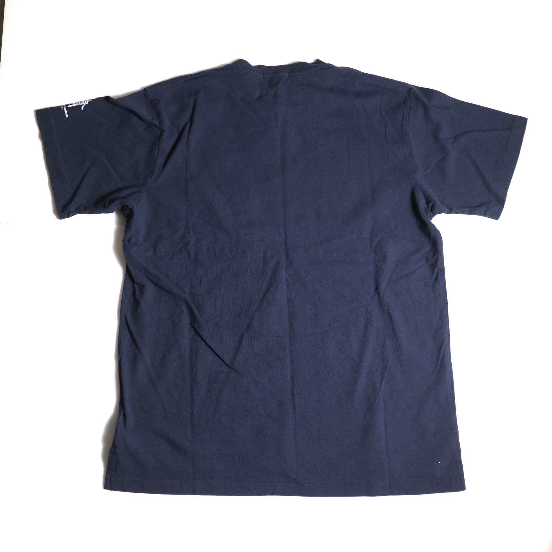 Engineered Garments / Printed Cross Crew Neck T-shirt -Vernon (Navy)背面