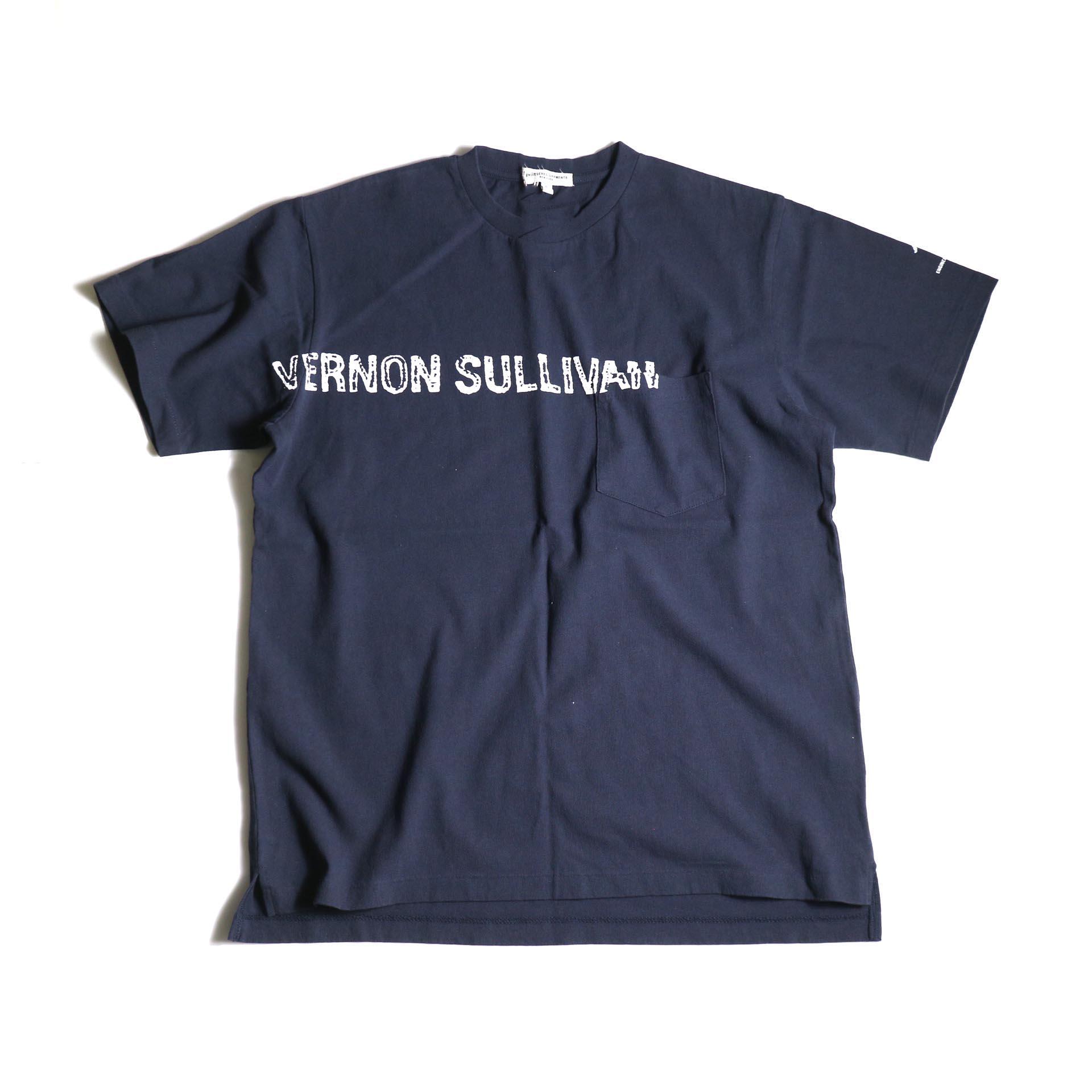 Engineered Garments / Printed Cross Crew Neck T-shirt -Vernon (Navy)正面
