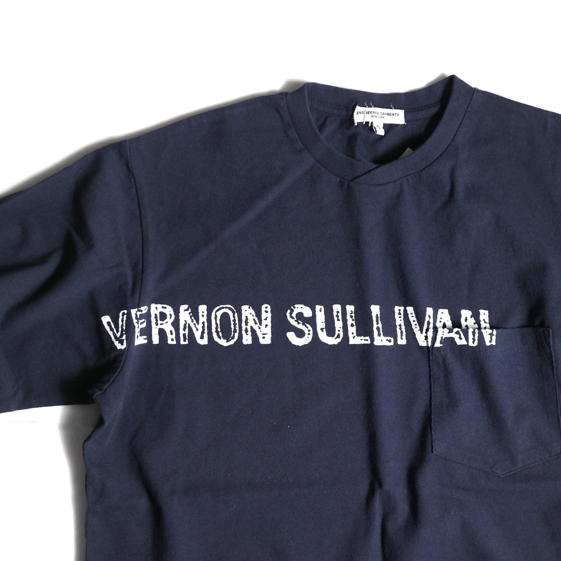 Engineered Garments / Printed Cross Crew Neck T-shirt -Vernon (Navy)プリント