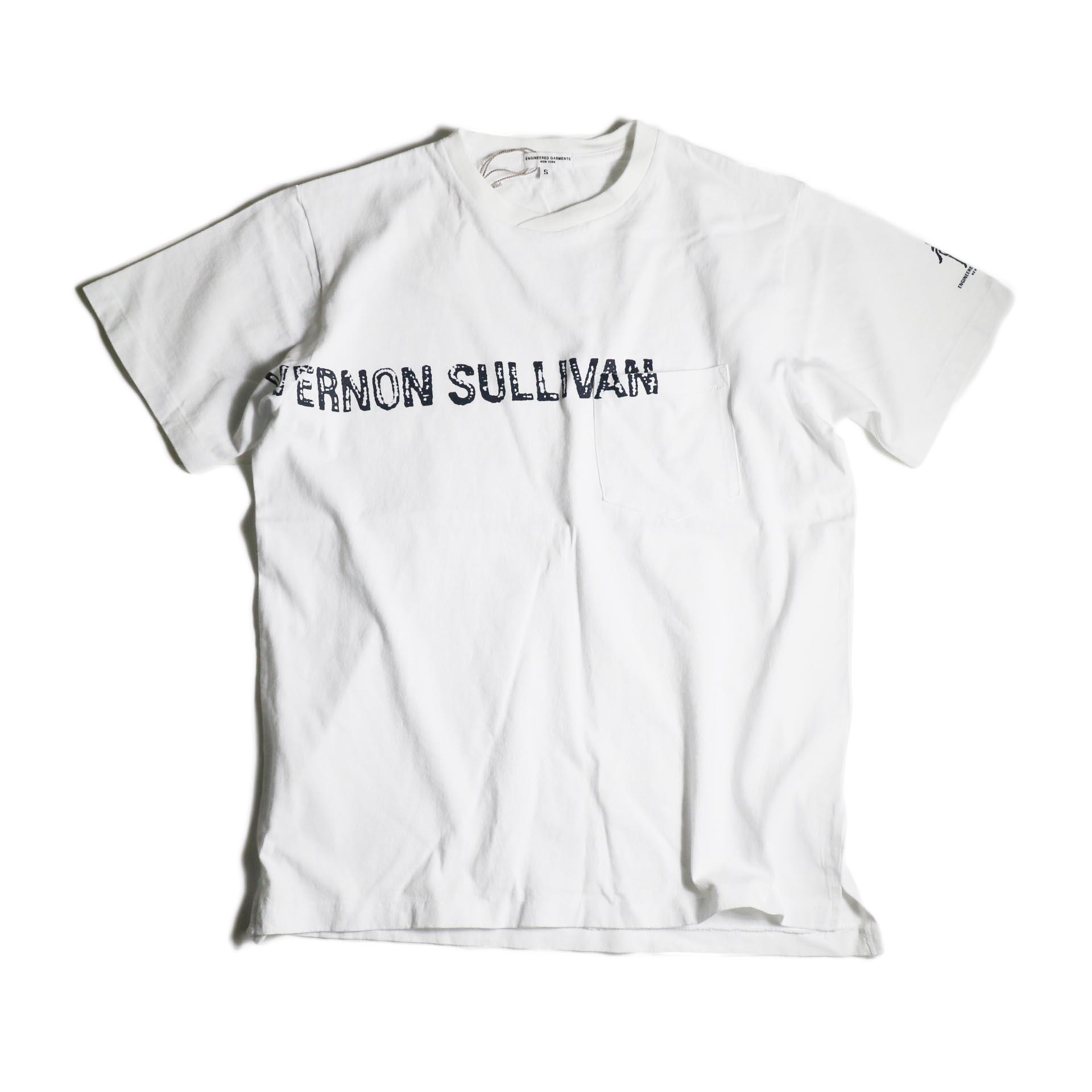 Engineered Garments / Printed Cross Crew Neck T-shirt -Vernon (White)正面