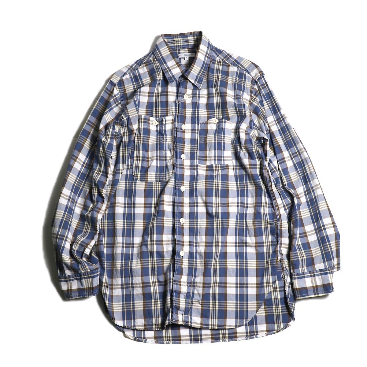 Engineered Garments / Work Shirt -Plaid Broadcloth (Navy/ Brown)