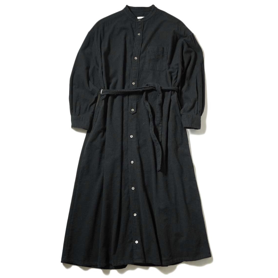 Engineered Garments / Banded Collar Dress (Black Solid Cotton Flannel) 正面