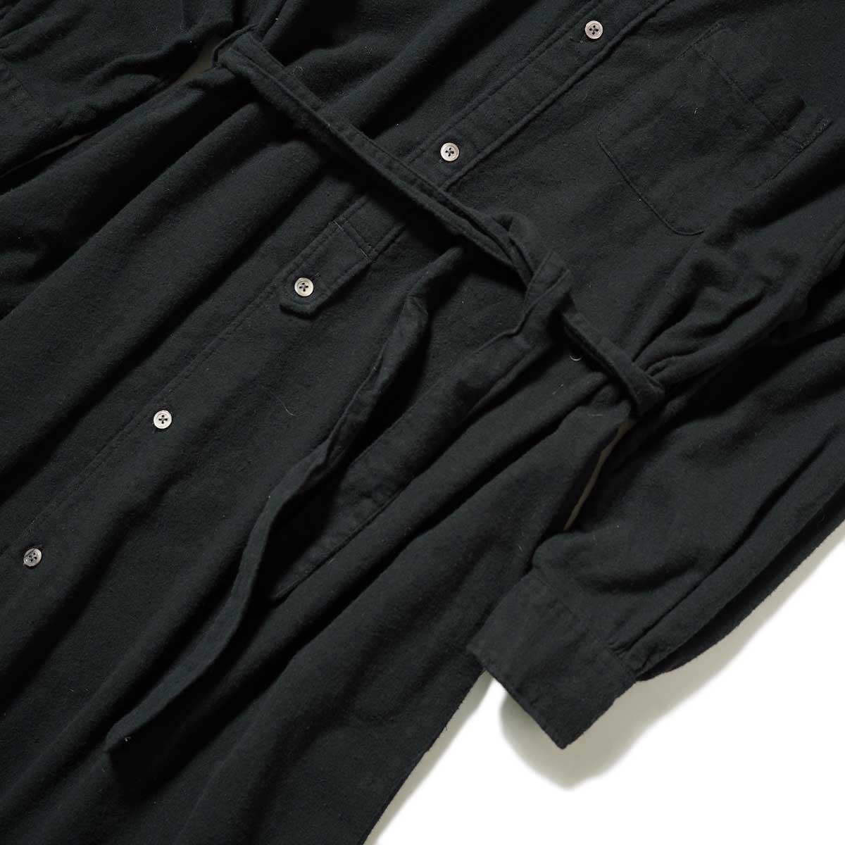 Engineered Garments / Banded Collar Dress (Black Solid Cotton Flannel) ウエスト・袖