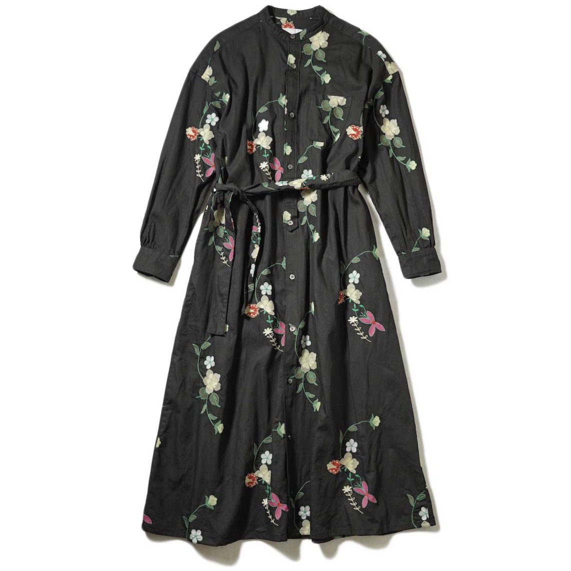Engineered Garments / Banded Collar Dress (Black with Multi Color Floral Embroidery)