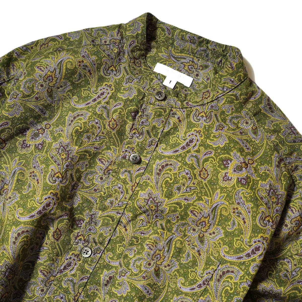 Engineered Garments / Banded Collar Dress (Olive / Purple Cotton Paisley Print) フロント