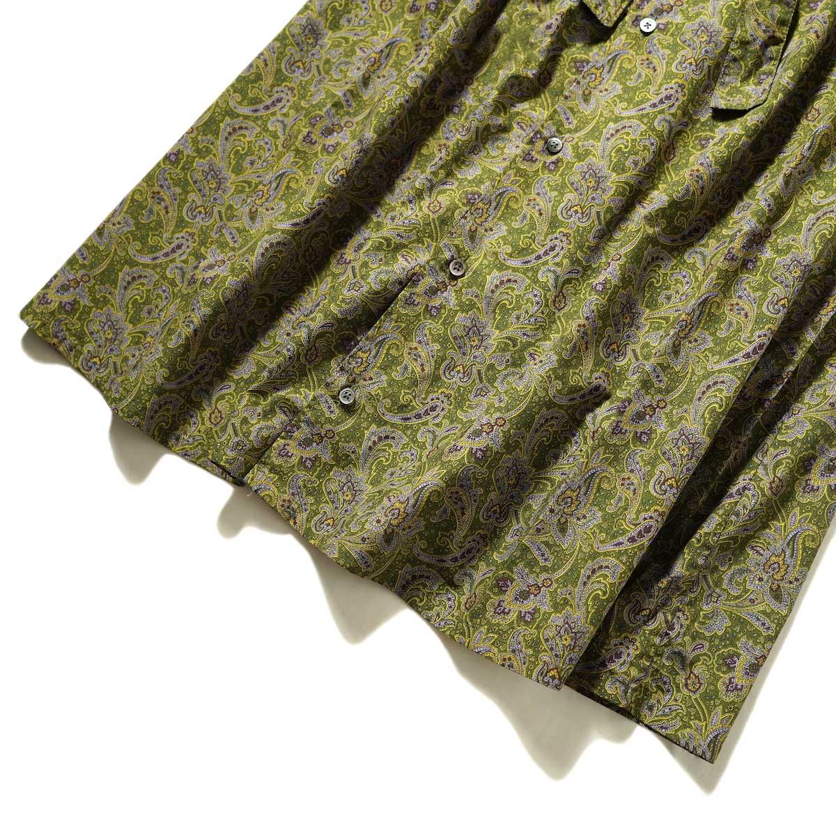 Engineered Garments / Banded Collar Dress (Olive / Purple Cotton Paisley Print) 裾