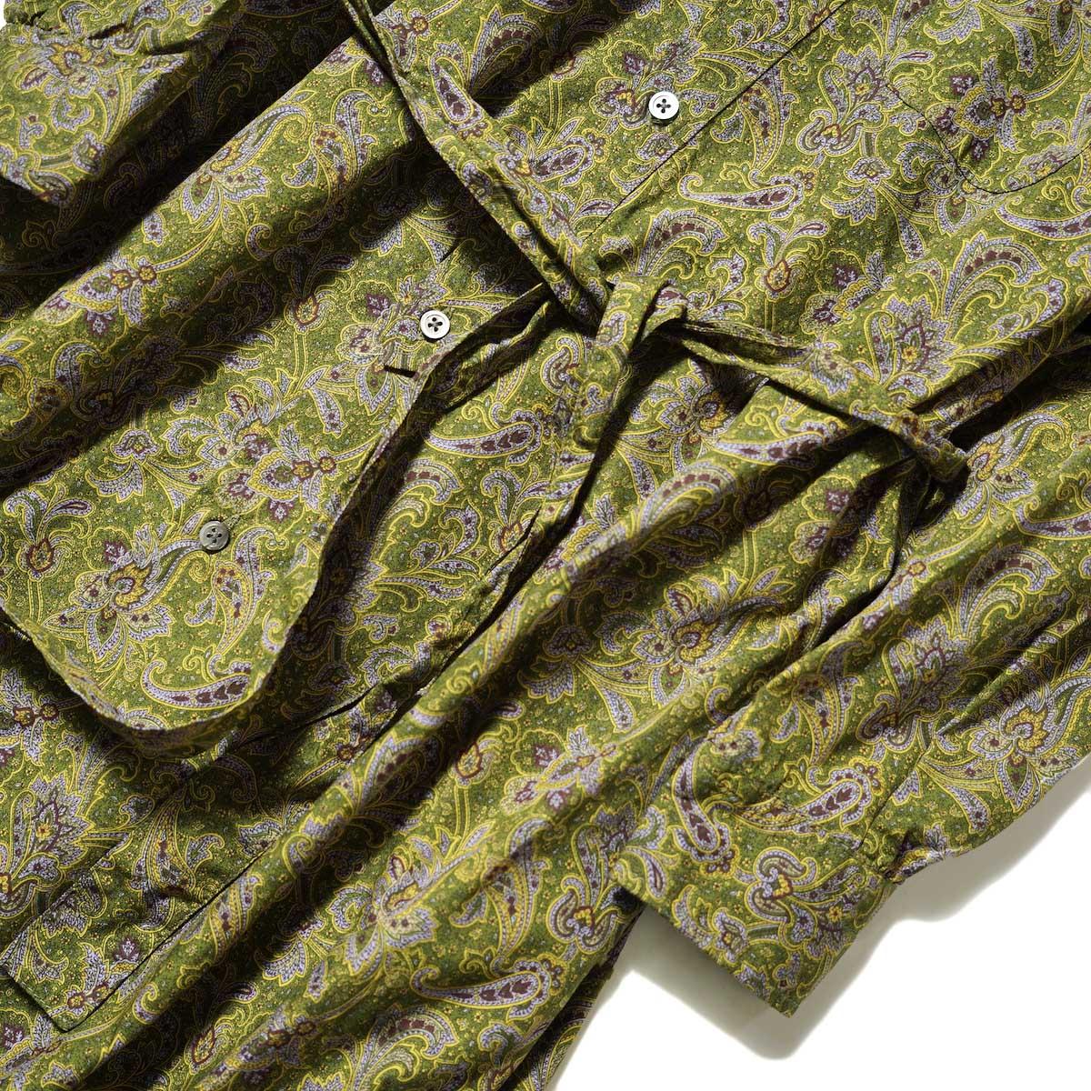 Engineered Garments / Banded Collar Dress (Olive / Purple Cotton Paisley Print) ウエスト・袖