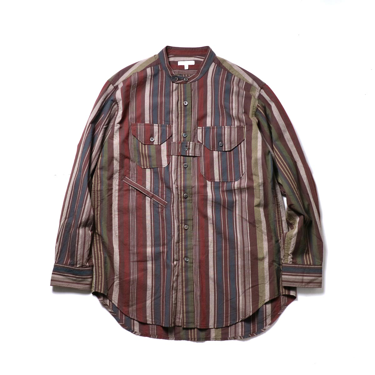 Engineered Garments / Banded Collar Shirt -Cotton Variegated Stripe (Brown)正面
