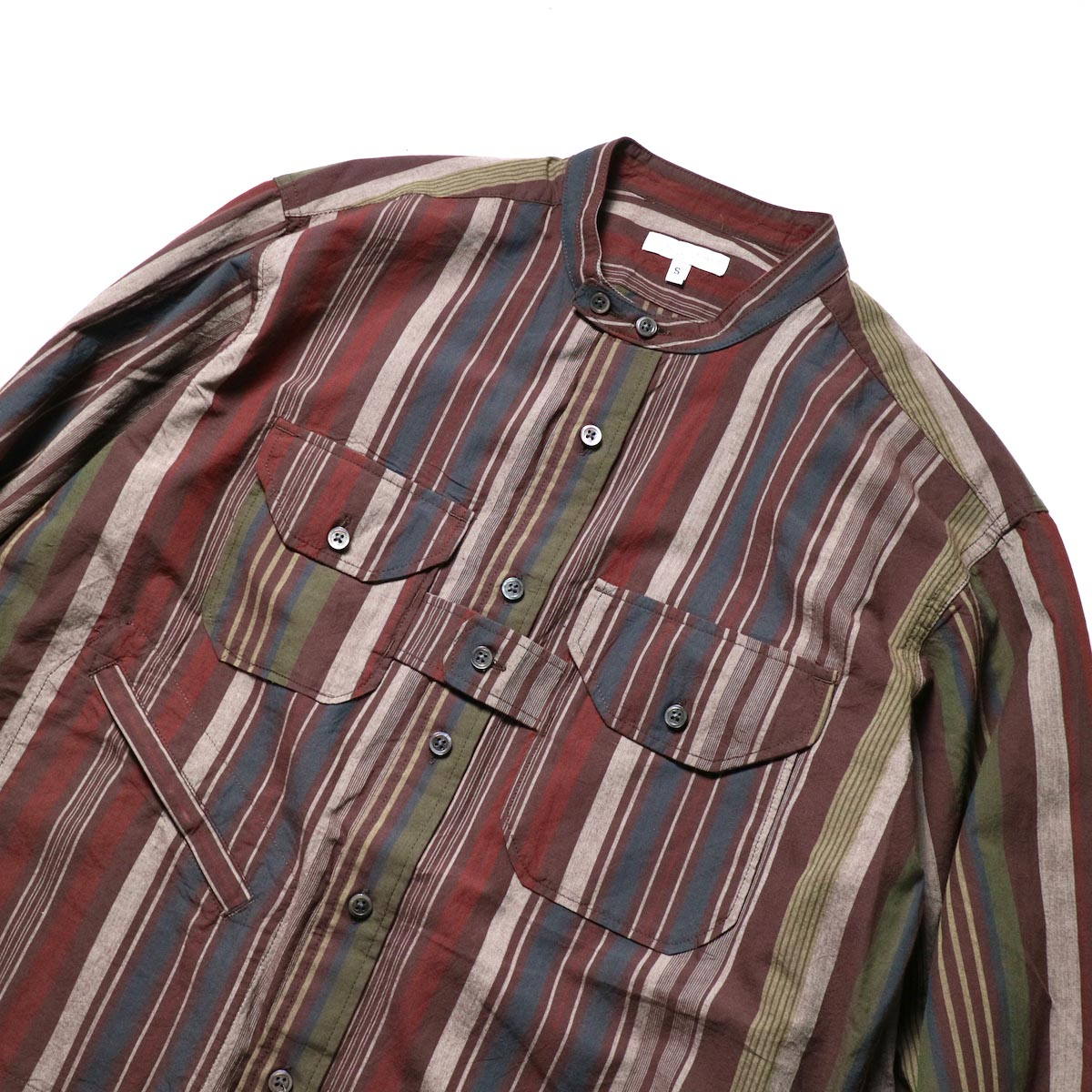Engineered Garments / Banded Collar Shirt -Cotton Variegated Stripe (Brown)襟