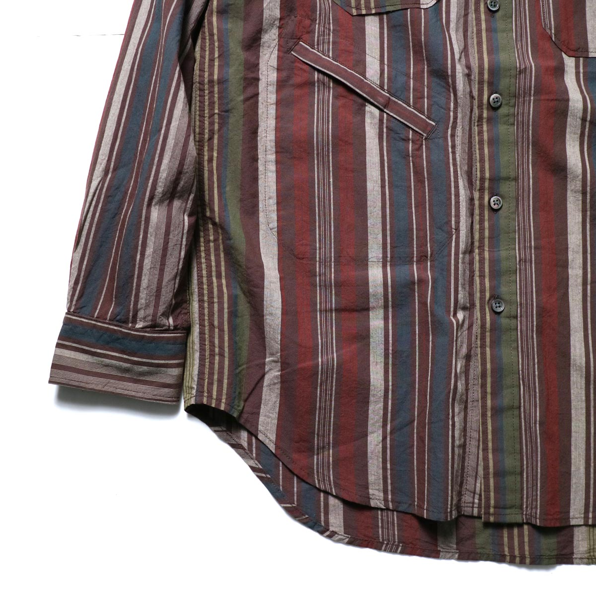 Engineered Garments / Banded Collar Shirt -Cotton Variegated Stripe (Brown)袖、裾