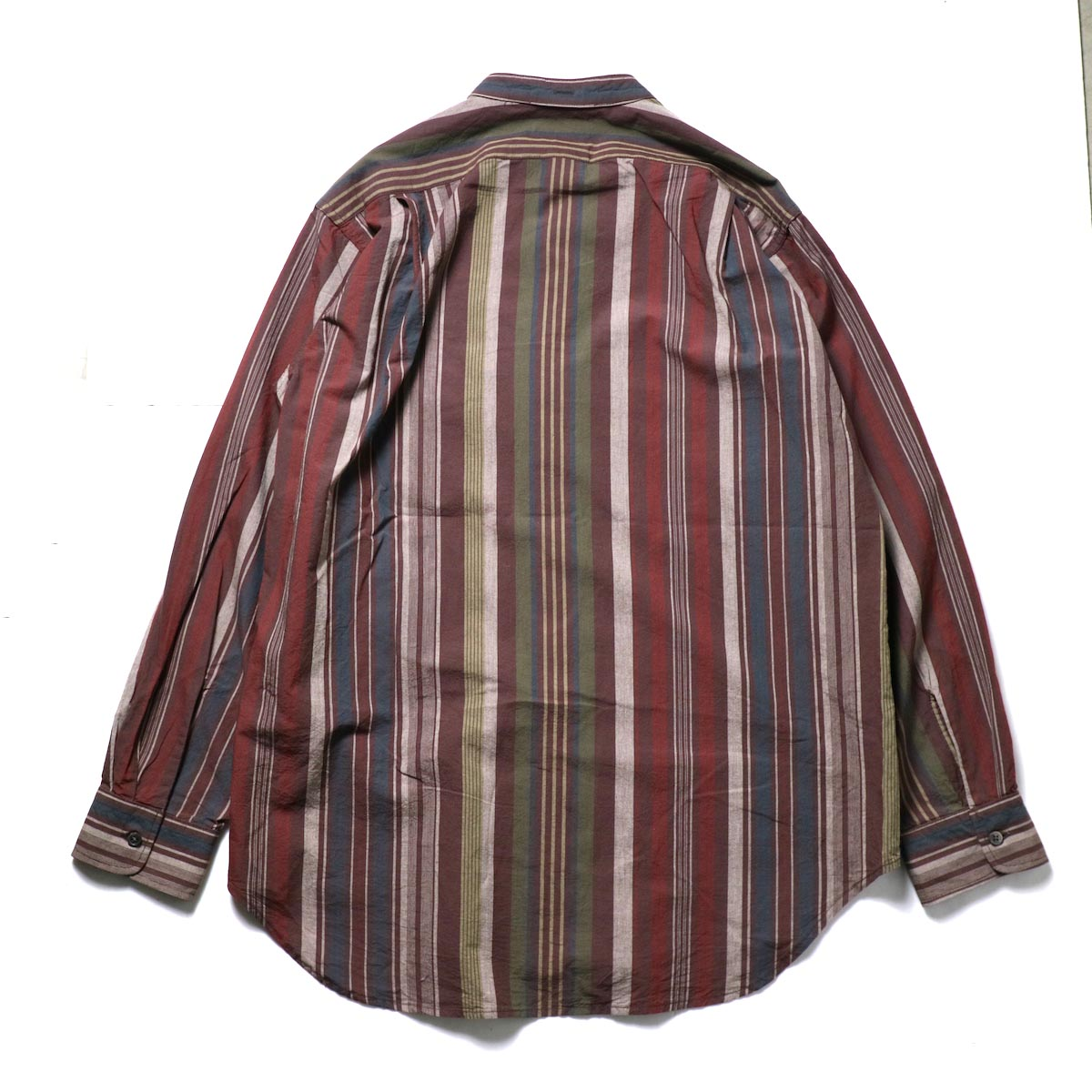 Engineered Garments / Banded Collar Shirt -Cotton Variegated Stripe (Brown)背面