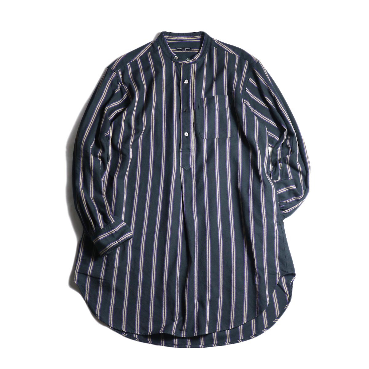Engineered Garments / Banded Collar Long Shirt -Regent St. (Black)