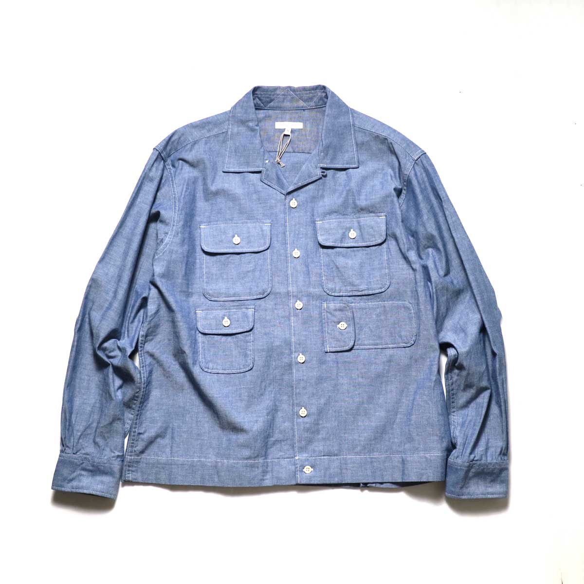 Engineered Garments / Bowling Shirt-Cotton Chambray (Blue)正面