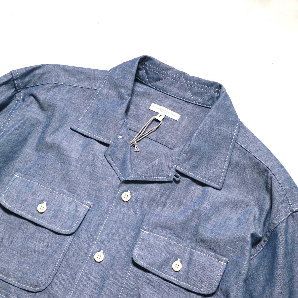 Engineered Garments / Bowling Shirt-Cotton Chambray (Blue)襟