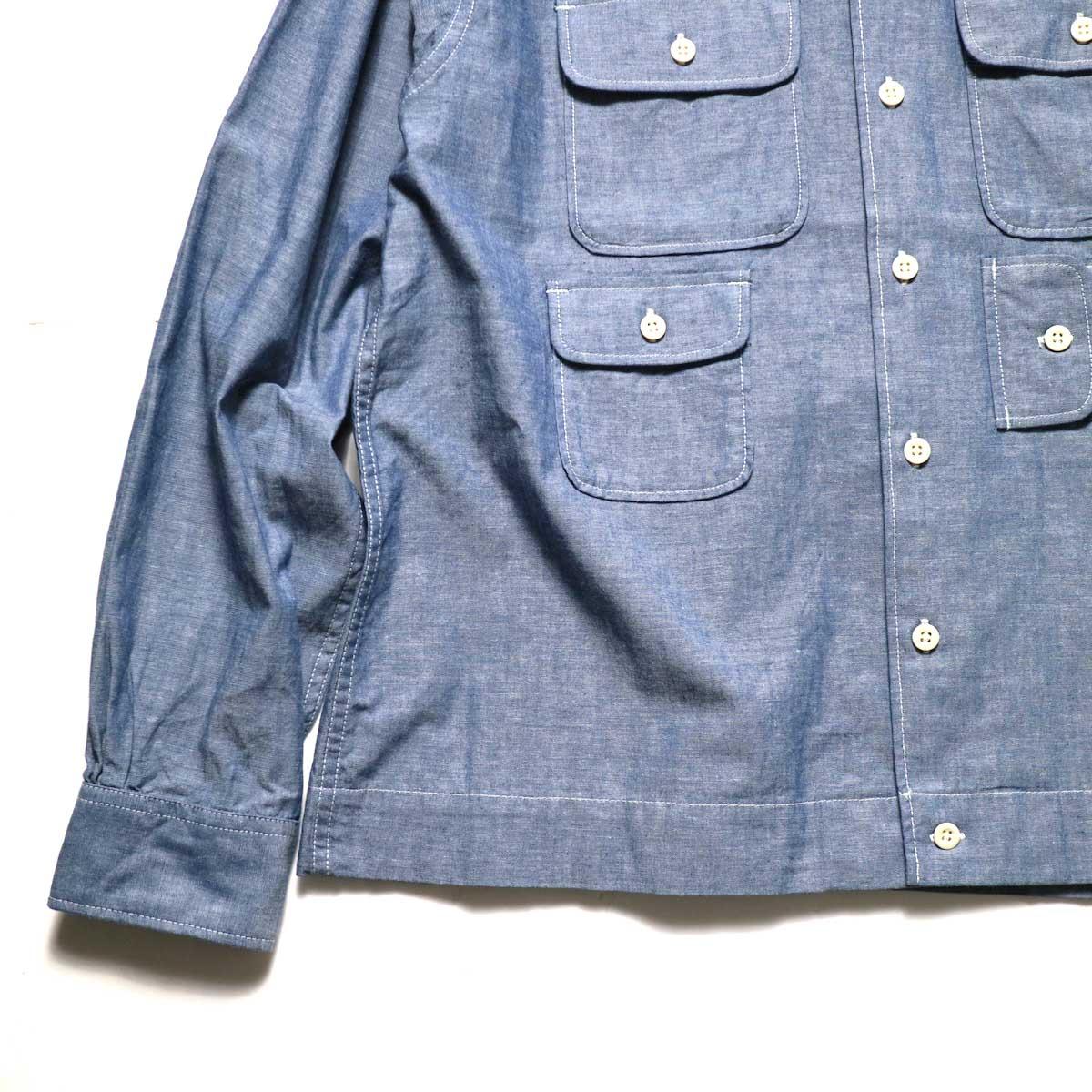 Engineered Garments / Bowling Shirt-Cotton Chambray (Blue)袖、裾