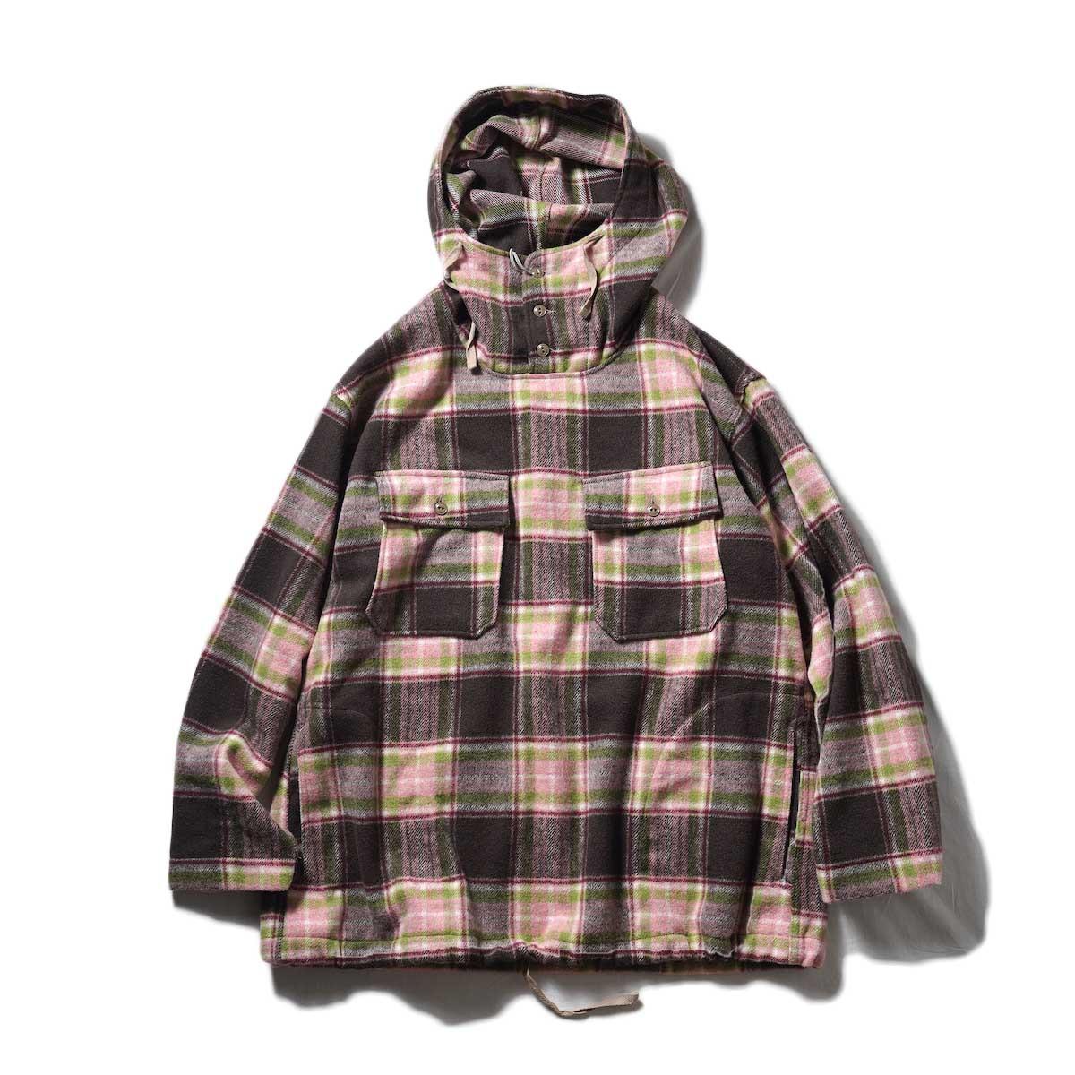 Engineered Garments / CAGOULE SHIRT - POLY WOOL PLAID (Brown / Pink)