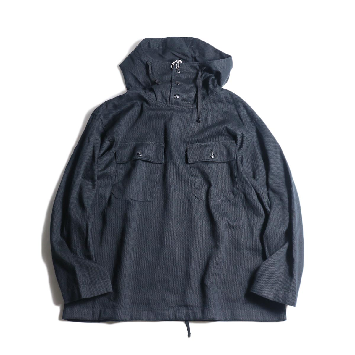 Engineered Garments / Cagoule Shirt -Waffle Pique (Black)正面