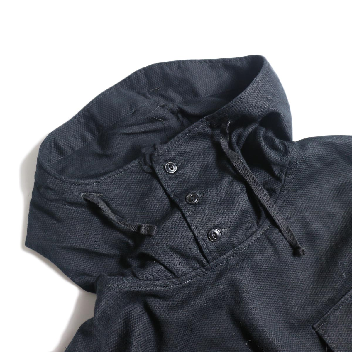 Engineered Garments / Cagoule Shirt -Waffle Pique (Black)フード
